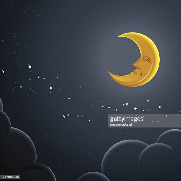 ilustrações, clipart, desenhos animados e ícones de feliz lua - semicírculo