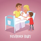 Happy Mother Holding Newborn Baby in Hospital Room. Family Welcomes Newborn Child