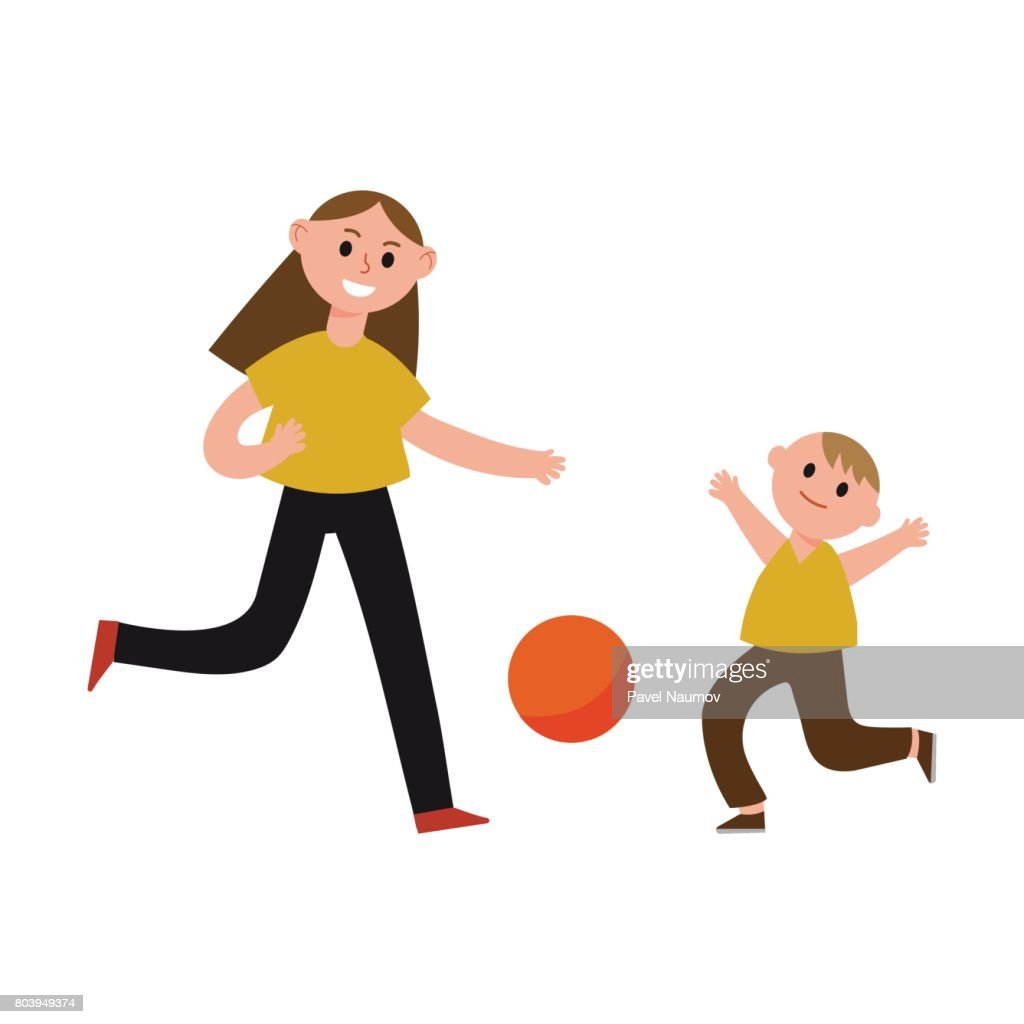 Happy Mother Playing Ball With Her Son Cartoon Characters