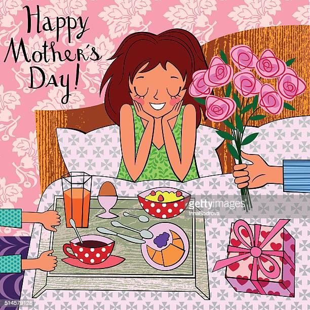 stockillustraties, clipart, cartoons en iconen met happy mother's day. breakfast in bed. - moederdag