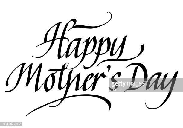 happy mother's day calligraphic inscription. calligraphic lettering design template. creative typography for greeting card, gift poster, banner etc. - mothers day text art stock illustrations