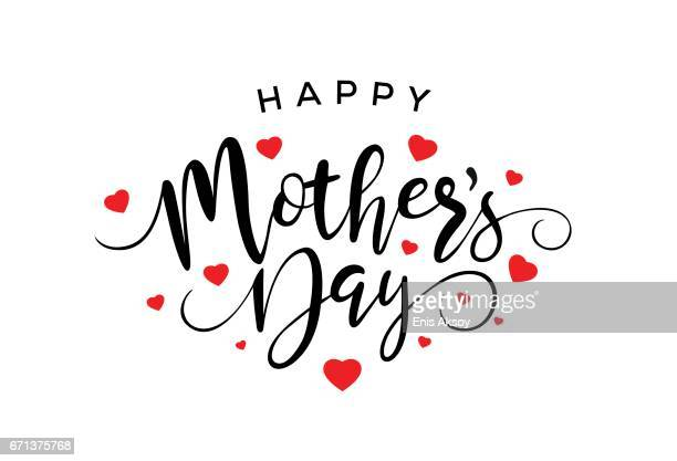 happy mothers day calligraphy - mothers day stock illustrations