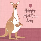 Happy Mothers Day. Cute mother kangaroo with babies in her pouch.
