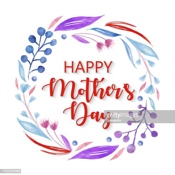happy mother's day, delicate leaves and berries on white background. pink, blue, purple spring blossom design for greeting cards, advertising, banners, leaflets and flyers. geometric botanical vector design frame. elegant summer concept, design element. - mothers day text art stock illustrations