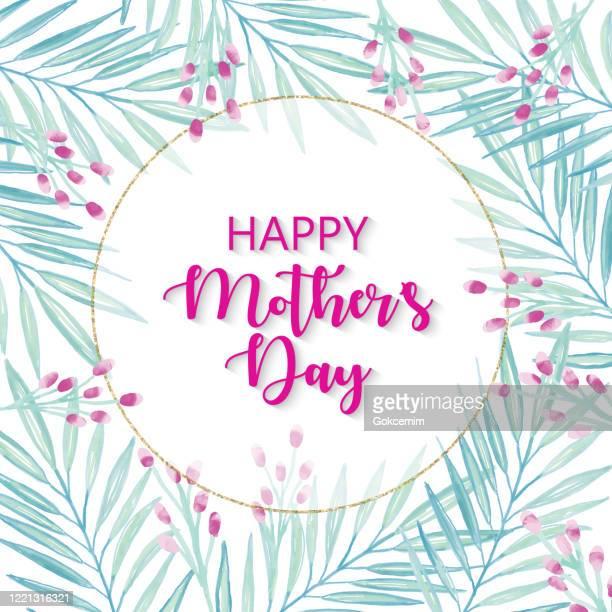 幸せな母の日、ピンクの縞模様の背景に繊細な葉とベリーと金のグリッタースクエアフレーム。グリーティングカード、広告、バナー、チラシ、チラシのためのピンク春の花のデザイン。幾� - ユーカリの葉点のイラスト素材/クリップアート素材/マンガ素材/アイコン素材