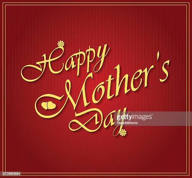 happy mothers day gold letters on white paper - mothers day text art stock illustrations