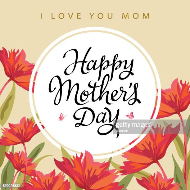 stockillustraties, clipart, cartoons en iconen met happy mother's day wenskaart - moederdag