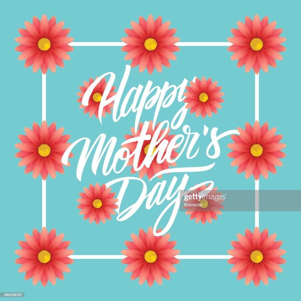 Happy Mothers Day Greeting Card With Handwritten Lettering Text