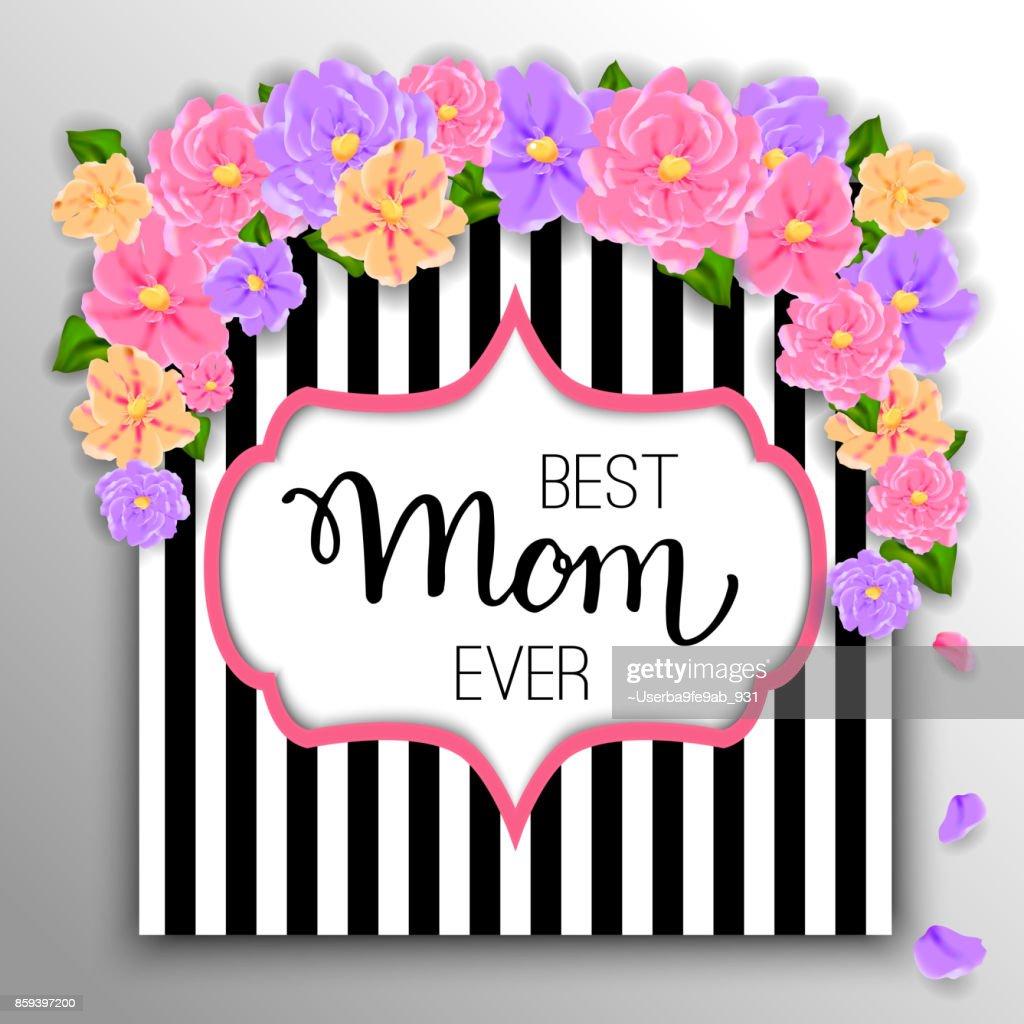 Glückliche Mutter Tag Layout Gestalten Mit Blumen Hand Letterin ...