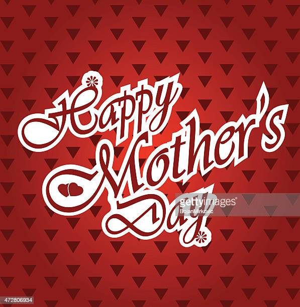 happy mothers day letters on white paper, triangle pattern. - mothers day text art stock illustrations