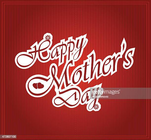 happy mothers day letters on white paper - mothers day text art stock illustrations
