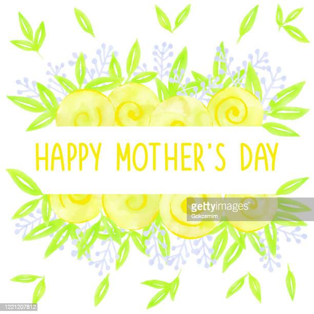 happy mother's day, multicolored fresh bloosoms design for greeting cards, advertising, banners, leaflets and flyers. watercolor hand painted template. - mothers day text art stock illustrations
