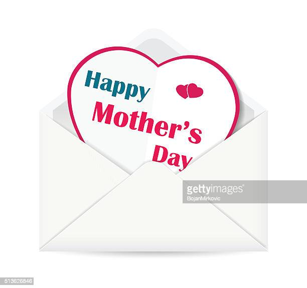 happy mother's day paper heart in open envelope - mothers day text art stock illustrations
