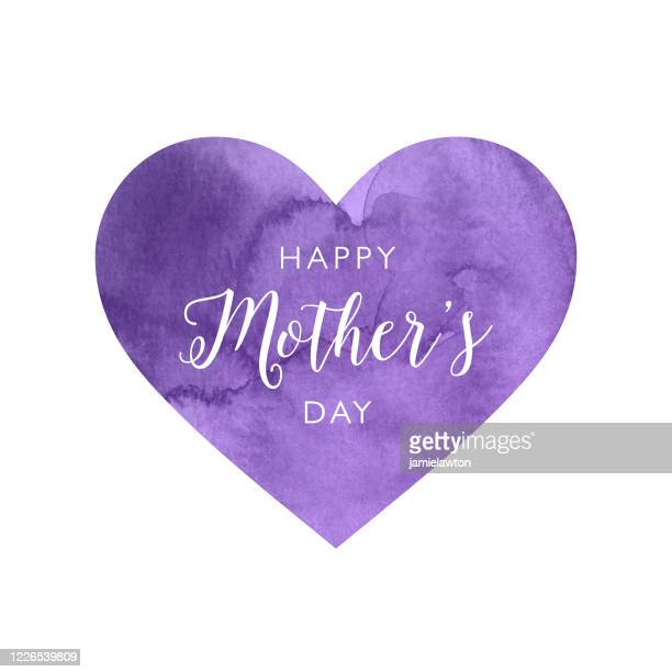 happy mother's day purple watercolour heart - mothers day text art stock illustrations