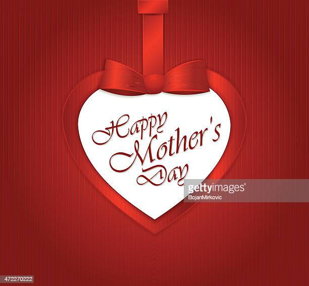 happy mother's day text in heart paper gift heart - mothers day text art stock illustrations