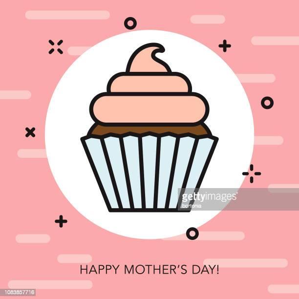 ilustrações, clipart, desenhos animados e ícones de ícone de linha fina de feliz dia das mães - bolinho