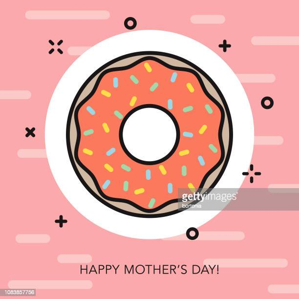 happy mother's day thin line icon - donut stock illustrations, clip art, cartoons, & icons