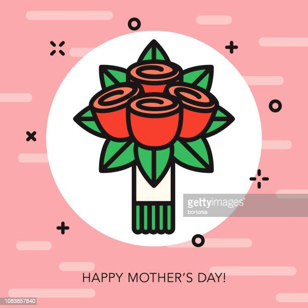happy mother's day thin line icon - rose colored stock illustrations