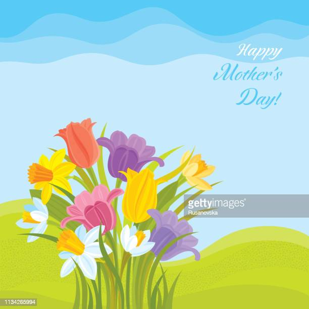 happy mother's day! tulips and daffodils background - mothers day text art stock illustrations