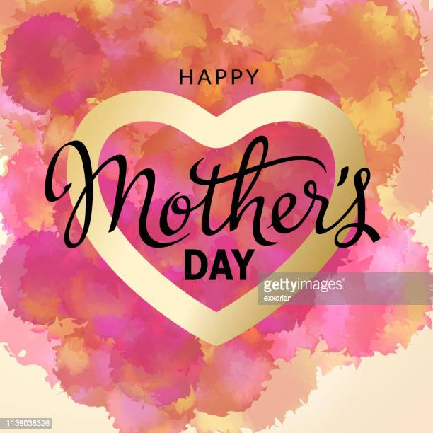 happy mother's day watercolor - mothers day text art stock illustrations