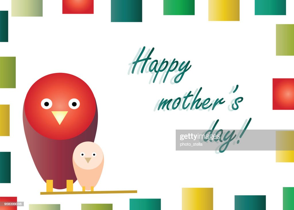 happy mothers day with birds cartoon vector