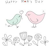 Happy mothers day with cute birds.