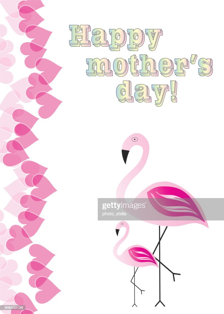 happy mothers day with flamingos vector illustration