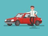 Happy motorist near his car. Vector illustration