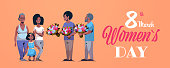 happy multi generation family congratulating women international 8 march day concept men giving flowers african american characters full length horizontal greeting card