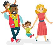 Happy multiracial family walking and having fun