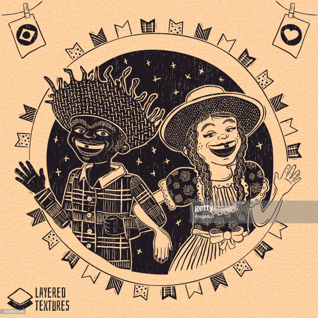 Happy multiracial hick couple waving - Brazilian June Party with diversity