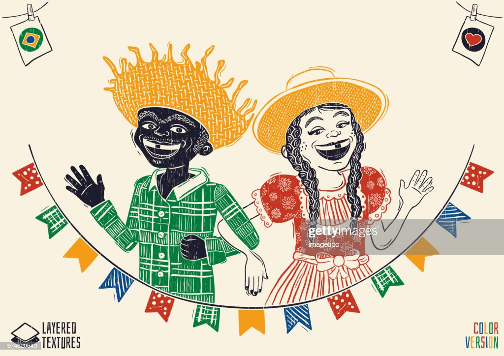 Happy multiracial hick couple waving over flags - Brazilian June Party with diversity