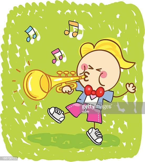 happy musician boy playing trombone instrument