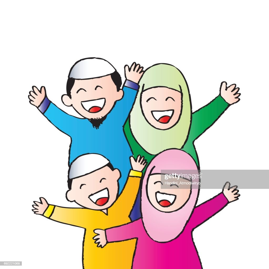 Happy Muslim family. Cartoon style.