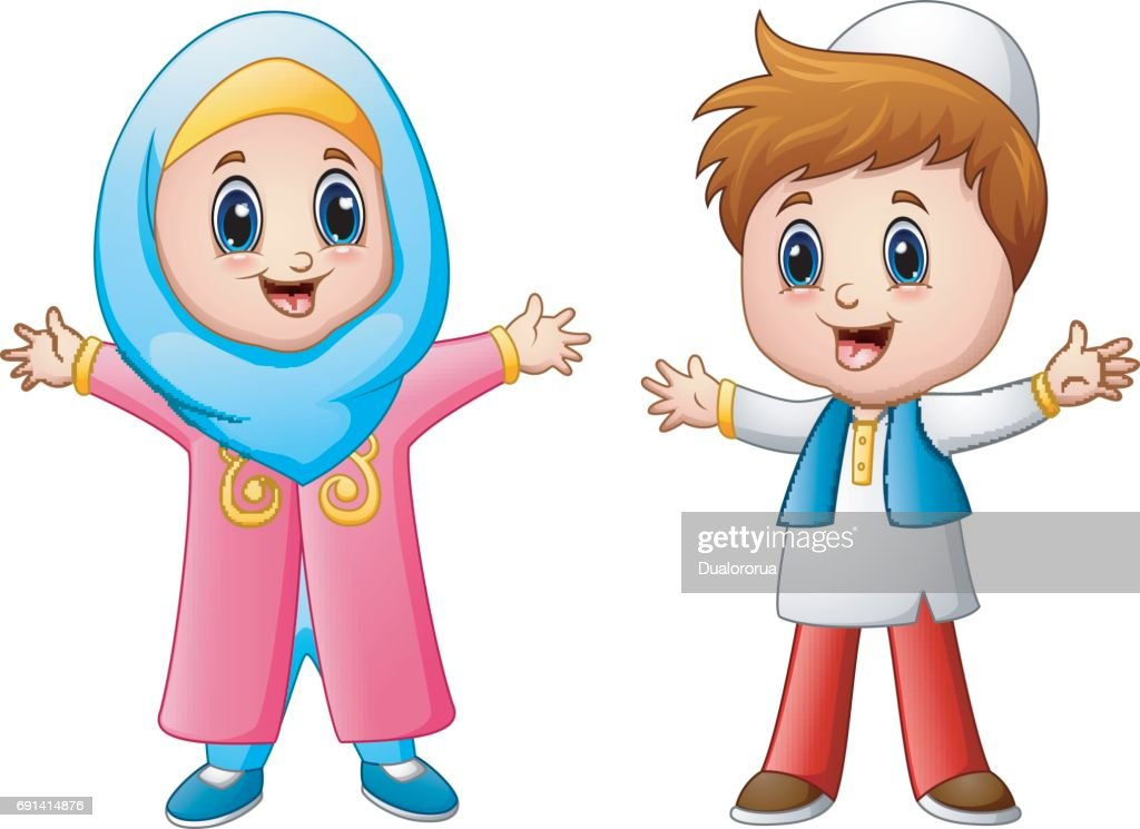 Happy muslim kid cartoon isolated on white background