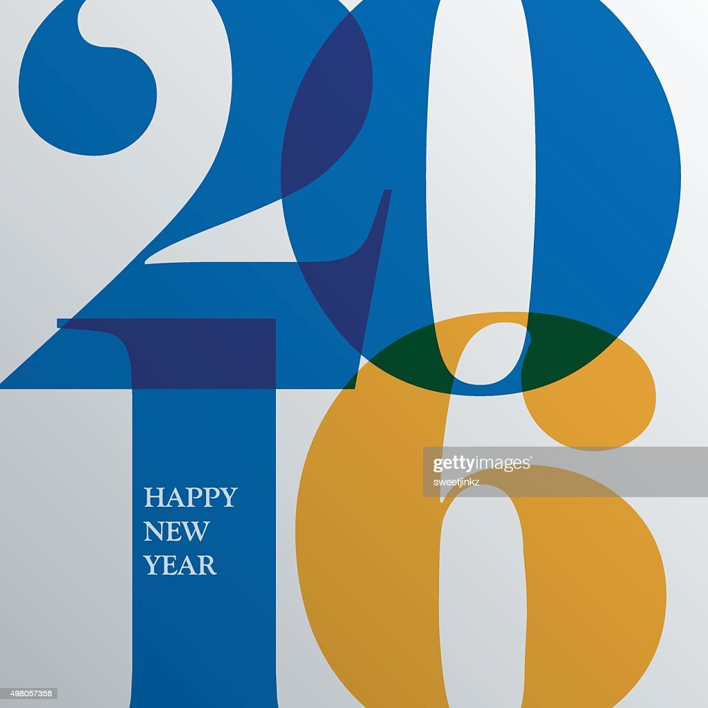 Happy new 2016 year. Greetings card. Colorful design. Vector ill