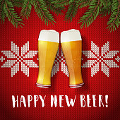 Happy new beer glasses poster on a christmas sweater background.
