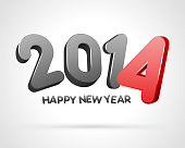 Happy New Year 2014 3d message vector background.