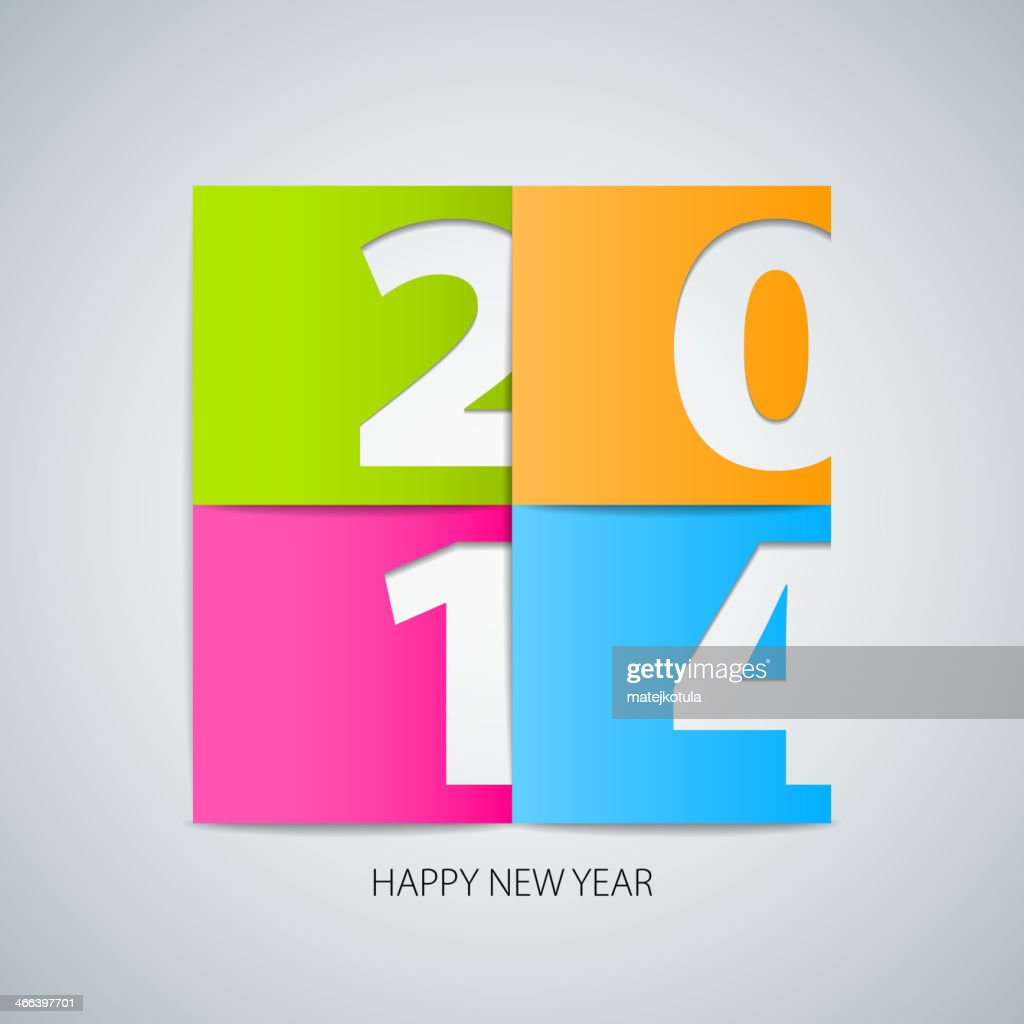 Happy New Year 2014 background with papercut