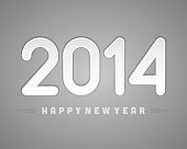 Happy new year 2014 message applique vector design element.