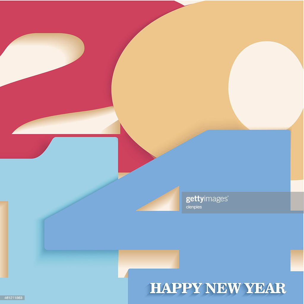 Happy New Year 2014 postcard vector illustration