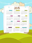 Happy New Year 2015 calendar design.