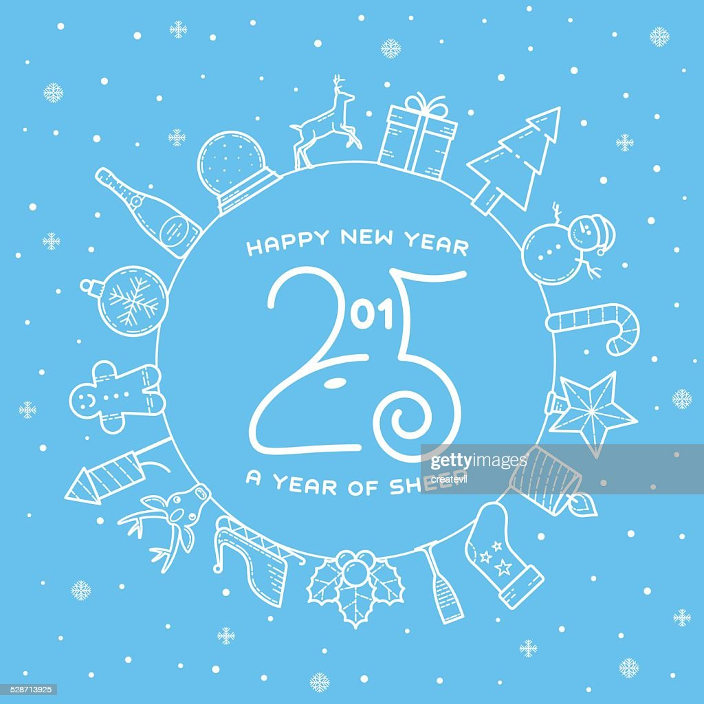Happy New Year 2015 Creative Greeting Card Design With Sheep Vector