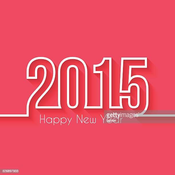 Heureuse nouvelle année 2015-Flat Design et ombre