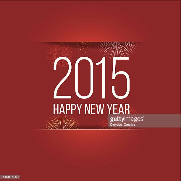 happy new year 2015 paper cut with fireworks - slit clothing stock illustrations