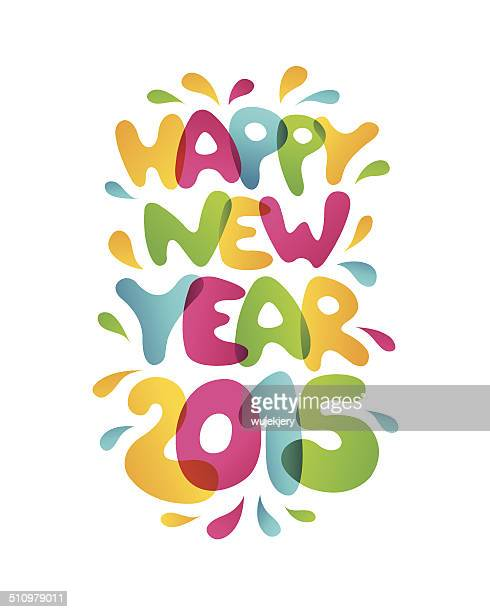 happy new year 2015 - vector illustration - gift tag note stock illustrations, clip art, cartoons, & icons