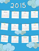 Happy New Year 2015 yearly calendar design.