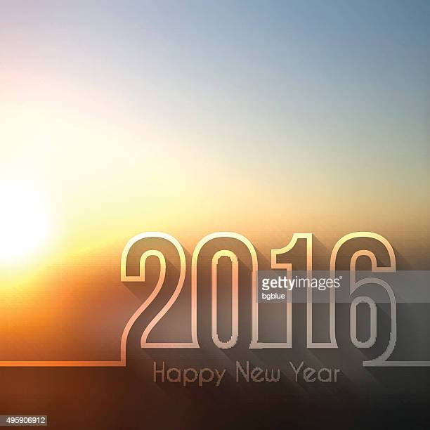 happy new year 2016 - blurred sunset or sunrise - 2016 stock illustrations, clip art, cartoons, & icons