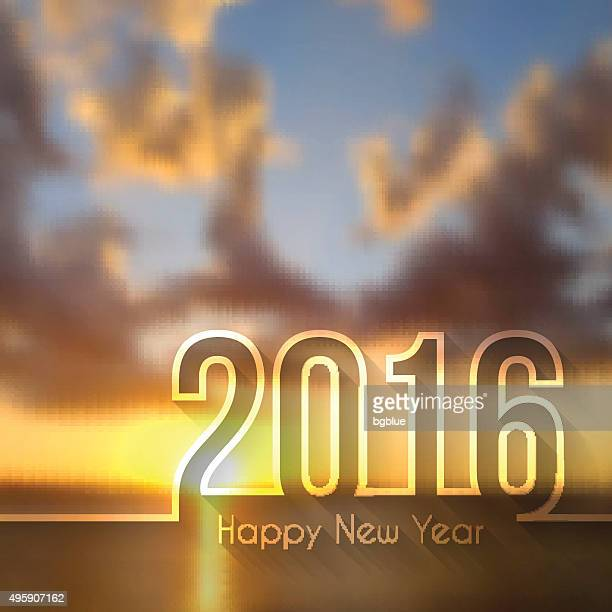 happy new year 2016 - blurred sunset or sunrise - champagne region stock illustrations, clip art, cartoons, & icons
