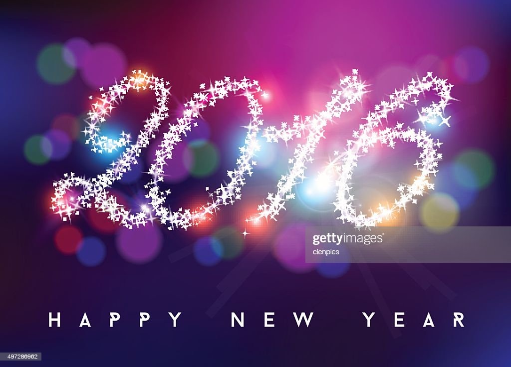Happy new year 2016 bokeh blur color star shape
